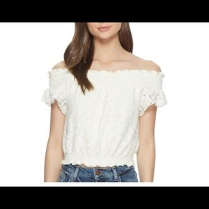 Jack by BB Dakota Bouchon Stretch Lace Smocked Top